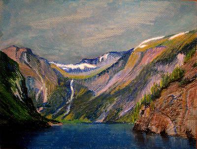 Painting - Norwegian Fjord  by Art Nomad Sandra  Hansen