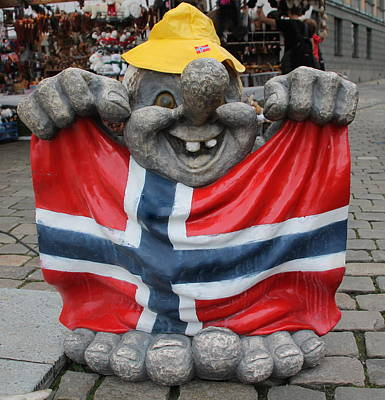 Photograph - A Laughing Troll In Bergen by Laurel Talabere