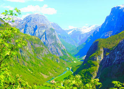 Digital Art - Norwegian Valley by Susan Lafleur