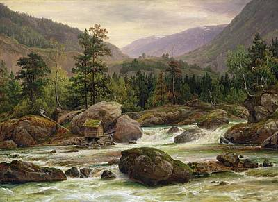 Log Cabin Painting - Norwegian Waterfall by Thomas Fearnley
