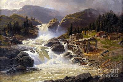 Norwegian Waterfall Painting - Norwegian Waterfall With Sawmill  by MotionAge Designs