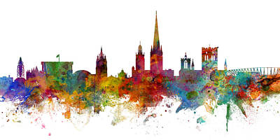 Digital Art - Norwich England Skyline Panoramic by Michael Tompsett