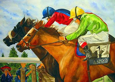 Horse Racing Painting - Nose To Nose by Jean Blackmer