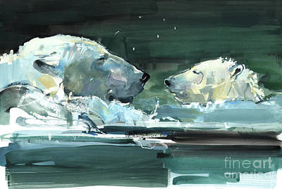 Bear Cub Painting - Nose To Nose by Mark Adlington