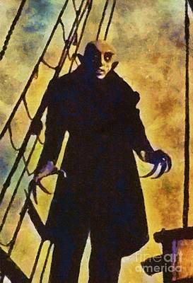 Wolfman Painting - Nosferatu, Classic Vintage Horror by Mary Bassett