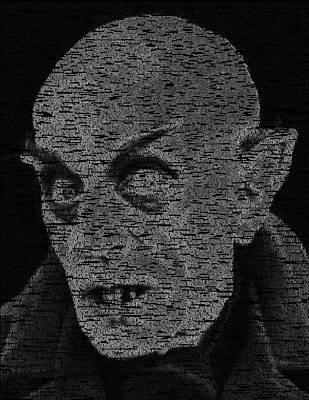 Digital Art - Nosferatu Script Mosaic by Paul Van Scott