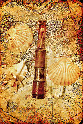 Nautical Chart Photograph - Nostalgia In A Nautical Ocean Adventure by Jorgo Photography - Wall Art Gallery