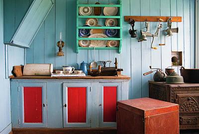 Photograph - Nostalgia - Lovely Blue Kitchen by Matthias Hauser