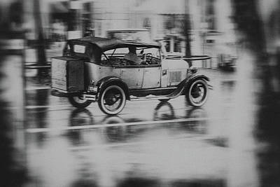 Dream Cars Photograph - Nostalgia - Old Car Driving In The Rain by Frank Andree