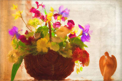 Photograph - Nostalgic Floral Basket And Angel by Anna Louise