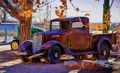 Popstar And Musician Paintings Royalty Free Images - Nostalgic Rusty International PickUp Royalty-Free Image by InternetOfPix Com