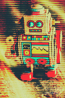 Toy Photograph - Nostalgic Tin Sign Robot by Jorgo Photography - Wall Art Gallery