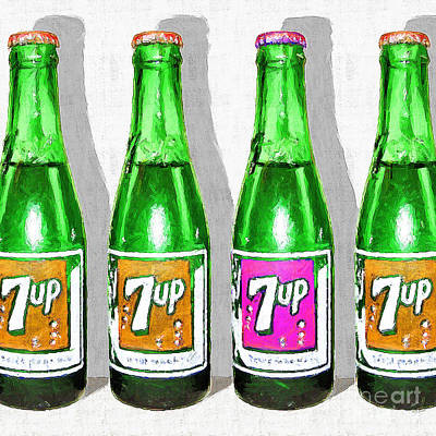 Photograph - Nostalgic Vintage Pop Art 7up Bottles 20160220 Square by Wingsdomain Art and Photography