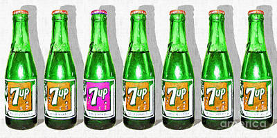 Photograph - Nostalgic Vintage Pop Art 7up Seven Bottles 20160220  by Wingsdomain Art and Photography