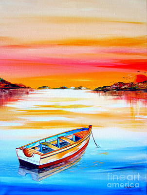 Painting - Nostalgic Water Reflections At Sunset by Roberto Gagliardi