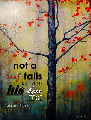 Not A Leaf Falls Art Print by Salwa  Najm