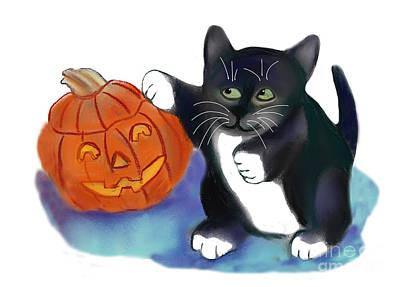 Painting - Not A Very Scary Halloween Pumpkin by Ellen Miffitt