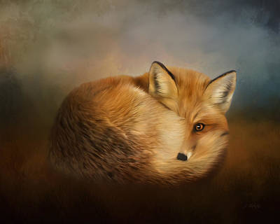 Painting - Not Alone - Fox Art by Jordan Blackstone