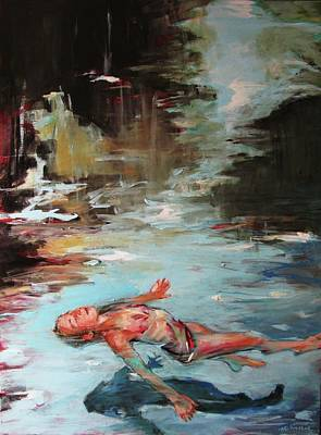 Floating Girl Painting - Not Alone by Michelle Winnie