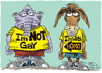 Drawing - Not Gay by Daryl Cagle