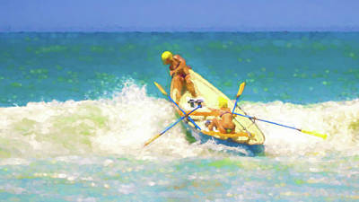 Row Boat Digital Art - Not Going To Capsize 2 Lifeboat Watercolor by Scott Campbell