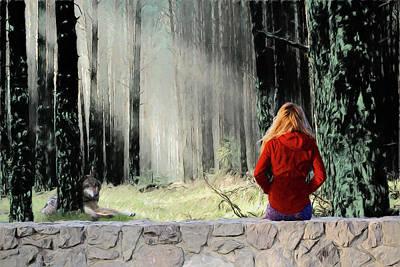 Digital Art - Not So Little Red Riding Hood by John Haldane