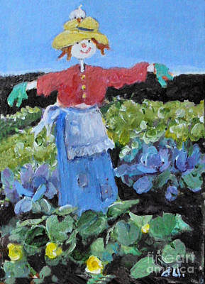Painting - Not So Scary Scarecrow by Diane Ursin