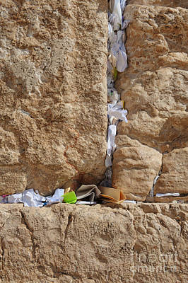 Wailing Wall Photograph - Notes In Wall Cracks by Noam Armonn