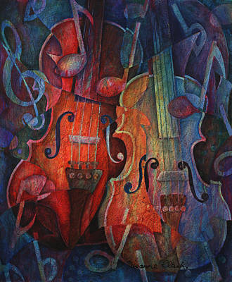 Violin Painting - Noteworthy - A Viola Duo by Susanne Clark