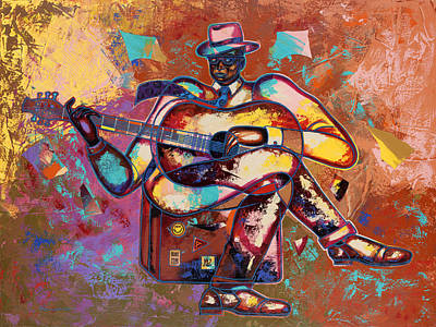 African American Painting - Nothin' But Da Blues by Larry Poncho Brown