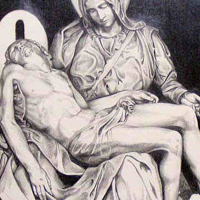 Jesus Drawing - Nothing Can Be Added - Close Up Pieta by Amy S Turner