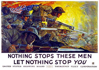 Nothing Stops These Men, Let Nothing Stop You Art Print by Carsten Reisinger