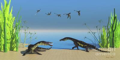 Nothosaurus Reptile Beach Art Print