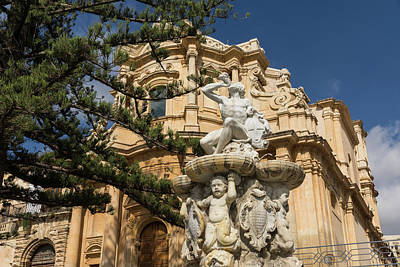 Photograph - Noto Sicilian Baroque - Church Of San Domenico On A Bright Sunny Day by Georgia Mizuleva