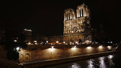 Photograph - Notre Dame And The Seine At Night Paris France by Lawrence S Richardson Jr
