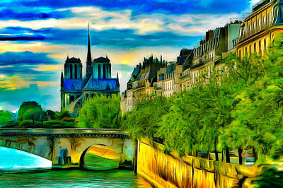 Historic Site Digital Art - Notre-dame And The Seine by Jean-Marc Lacombe