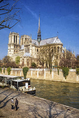 Notre Dame And The Seine Painterly Art Print by Joan Carroll