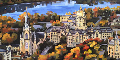 Notre Dame Print by Anne Lewis
