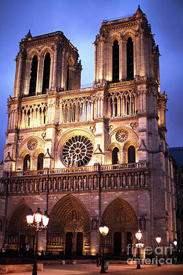 Photograph - Notre Dame At Night by John Rizzuto