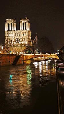 Photograph - Notre Dame Bridge Paris France by Lawrence S Richardson Jr