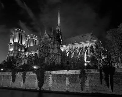 Notre Dame By Night, Paris, France Art Print