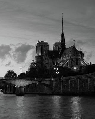 Notre Dame By Night Art Print
