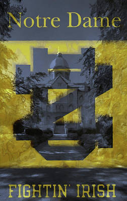 Mixed Media - Notre Dame Campus Flag by Dan Sproul