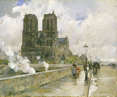 Commuters Painting - Notre Dame Cathedral - Paris by Childe Hassam