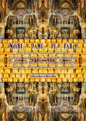 Photograph - Notre-dame Cathedral Rose Stained Glass Candles Novel Quote by Beverly Claire Kaiya