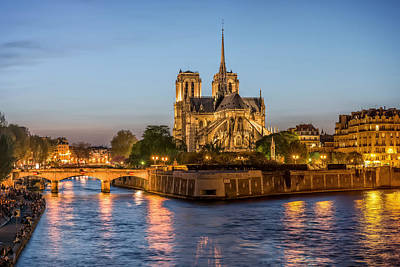 Paris Skyline Royalty-Free and Rights-Managed Images - Notre-Dame de Paris Cathedral at night by Valery Egorov