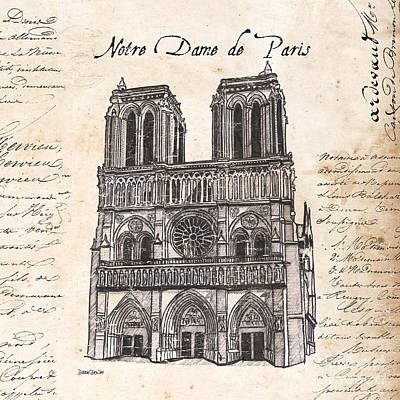 Pen And Ink Drawing Painting - Notre Dame De Paris by Debbie DeWitt