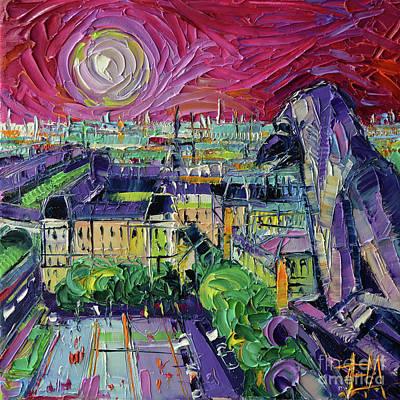 Painting - Notre Dame De Paris Gargoyle Textural Impressionist Stylized Cityscape by Mona Edulesco