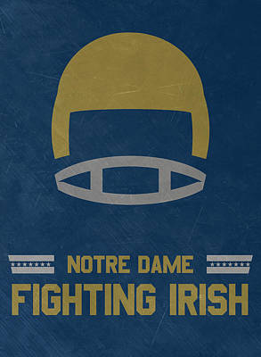 Ncaa Mixed Media - Notre Dame Fighting Irish Vintage Football Art by Joe Hamilton