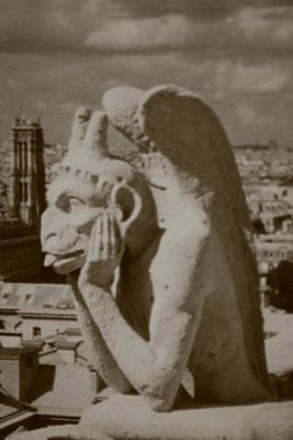 Photograph - Notre Dame Gargoyle Black And White by Christopher Kirby
